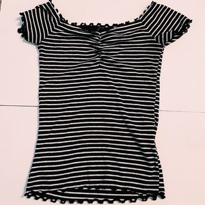 Navy Blue and White Striped Hollister Top